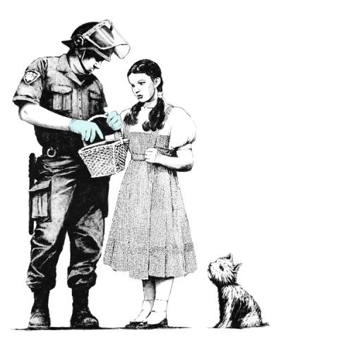 """Routine inspection, ma'am."" Graffiti art by Banksy."