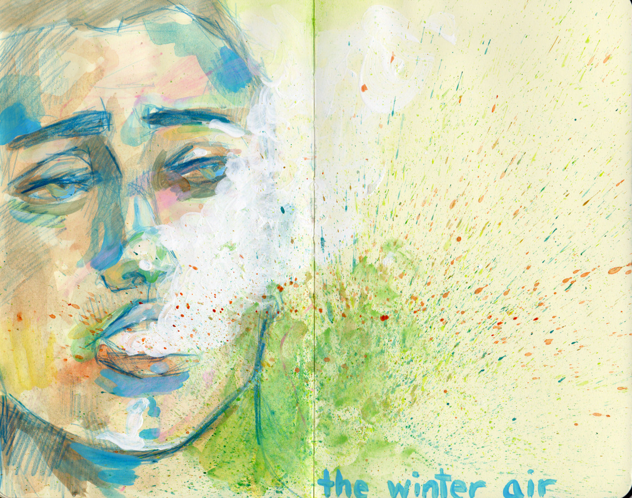 The Winter Air. Colored Pencil, Gesso and Watercolor. Moleskine, 2011.