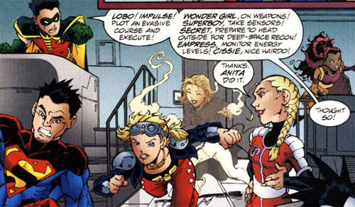 "justsayins:  gabbitygabbgabb:  miss-mgann:  'Wonder Girl, on weapons! Superboy, take sensors! Secret, prepare to head outside for deep-space recon! Empress, monitor energy levels! Cissie, nice hairdo!'-Young Justice #36  Pfft, oh Tim bb never change.   ""Thank. Anita did it."" ""Thought so!""   I think this blog should be called 'Young Justice gives me feeeeeeeeeeeliiingssss.'"