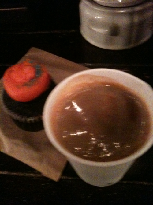 Double americano and vegan chocolate cupcake from the Toronto Coffee Company at Bloor and Lansdowne.
