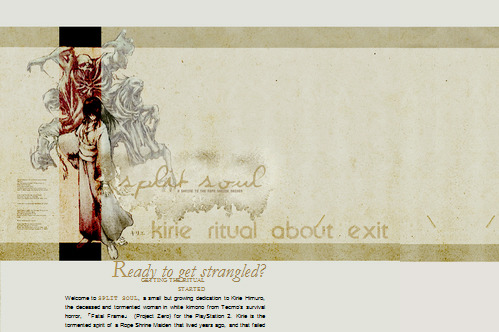 Title: Split Soul (discarded layout) Website: Split Soul (discarded project)