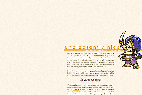 Title: Unpleasantly Nice (unused layout) Website: Unpleasantly Nice