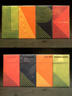 Cigarette packaging designed for Lark cigarettes by George Tscherny in 1968. source » Container List