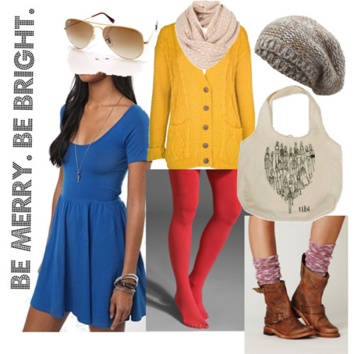 Merry & Bright by designthislife featuring a chunky knit cardiganChunky knit cardigan, £16Free People slouchy socks, $24Anna Sui opaque stocking, $22TIBI heart handbag, $30Ray-Ban ray ban shades, €139Portolano knit beret hat, £40TopShop knitted shawl, £28