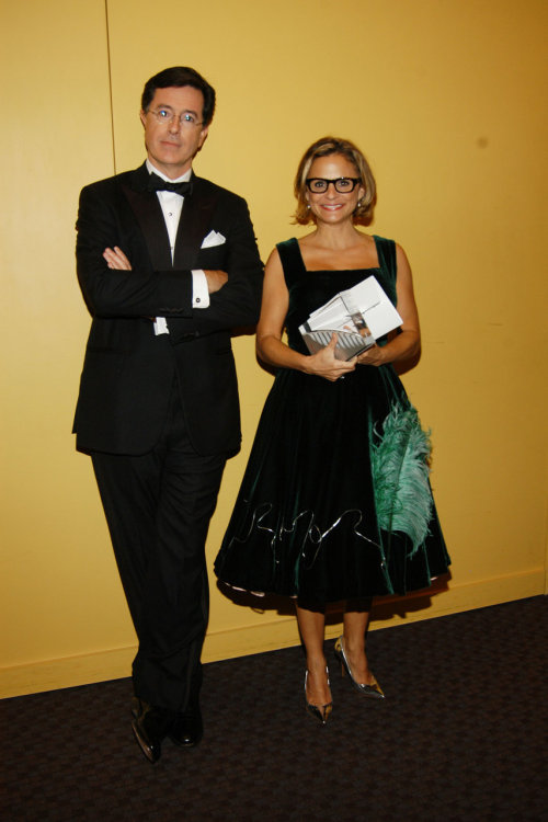 suicideblonde:  Stephen Colbert and Amy Sedaris at the Quill Awards, Oct 22, 2007