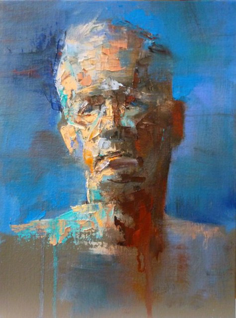 oxane:  Head study by raeburn10025 Abstract sketch. Oil on linen board. 12/17/11. National Academy of Design.
