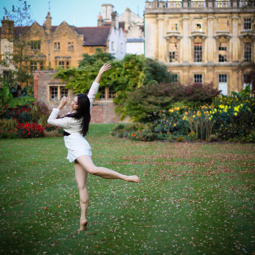 Ballet Dancer in Clare College, Cambridge by Claude Schneider on Flickr.