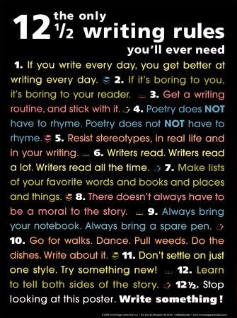 The Rules of Writing Trying to abide by rule #12.5 and go write…NOW! :)