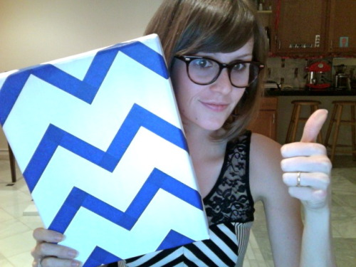 Wearing a chevron dress while crafting a chevron. My world just exploded from too many cute patterns!!! Time to paint.