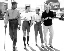 theshipthatflew:  theniftyfifties: Sidney Poitier, Tony Curtis, Sammy Davis Jr. and Jack Lemmon on the lot, 1950s. Photo by Phil Stern.