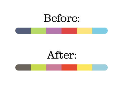 (via Dribbble - My Secret for Color Schemes by Erica Schoonmaker)  Secret to cohesive color schemes: pick a bunch of colors you want to do (purple, blue, etc like you did here), then pick an overall color (let's say orange, for playfulness) that you want to tint everything towards…