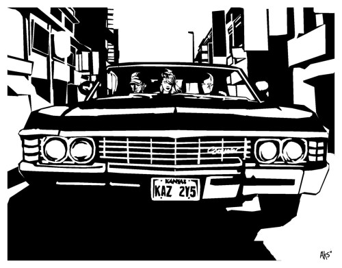 shop5:  Variant of my Impala picture done with the Red Hood and the Outlaws crew because—my favorite show and one of my favorite comics?— this crossover makes sense :P  #NaturalOutlaws  IT'S THE GOODEST THING EVER