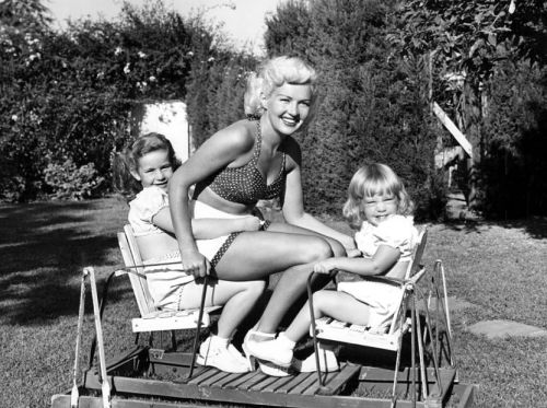 Betty Grable with her daughters Victoria and Jessica. June, 1954