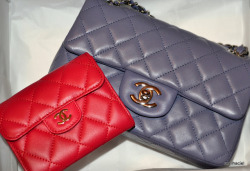 Chanel lavender mini classic flap and fuschia purse