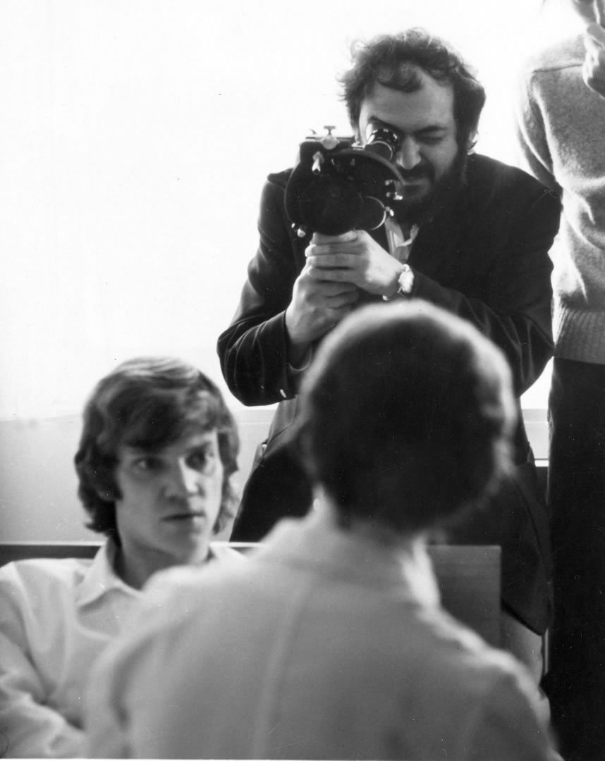 Stanley Kubrick on set of A Clockwork Orange.