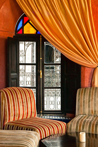 Colorful and exotic lobby interior in Old Fez, Morocco (by rowjimmy76)