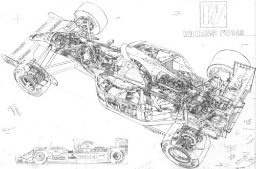 cutaways:  Williams FW14B  In the hands of British driver Nigel Mansell, the FW14B would win both the driver's and constructors titles in such a dominant fashion, many of Nigel's single season records stood well into Schumacher's dominant years. Some of which including: Most wins from start of the season (5, shared with Schumacher's 2004 season) Most pole positions in a season (14, beaten by Sebastian Vettel this year) Most wins in a season (9, equalled by Schumacher in 1995 and bettered in 2002) 56% winning percentage (best winning percentage since Jim Clark in 1965, nearly 30 years prior) 88% pole position percentage (unbeaten) Most starts from the front row in a season (tied with Senna for 15, beaten by Prost in 1993) Most fastest laps in a season (8, beaten by Mika Hakkinen in 2000) Most wins from pole in a season (9, unbeaten)