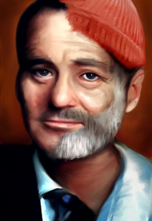 "via eatsleepdraw:  ""Bill Zissou"" by Lindsey Pudlewski. A depiction of Bill Murray in his role as Steve Zissou in the film The Life Aquatic.  Prints available @ Society6."