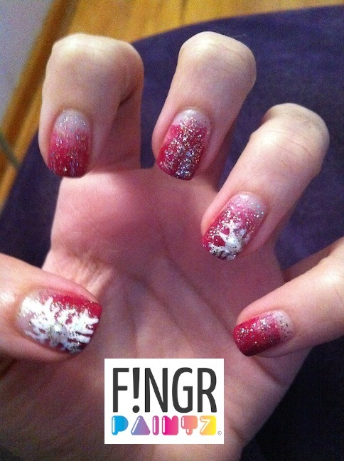 Christmas nails!  Super pretty red gradient with glitter and snowflakessss xxo Laur