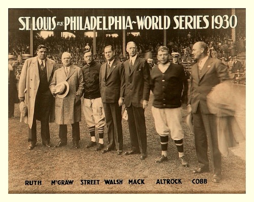 Babe & The Gang - 1930 World Series (L-R) Babe Ruth, John McGraw, Gabby Street, Christy Walsh, Connie Mack, Nick Altrock & Ty Cobb