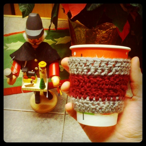 Day 17: I crocheted this swanky coffee cozy!