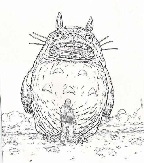 The Shaolin Cowboy in front of Totoro.