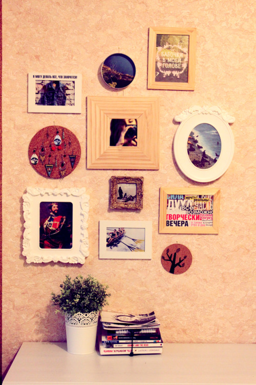 circuitaroundthesun:  my wall. not finished yet  Vintage or hand made? Good mix of memorable moments