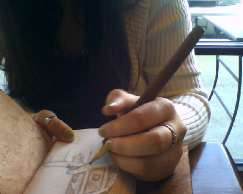 sketching at a starbucks….people watching, too…and then going to read.  while Spoon plays overheard :)