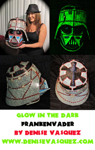 "GLOW IN THE DARK ""FRANKENVADER"" designed & created by Denise Vasquez for Contesthttp://www.halloweencostumes.com/contest/darth-vader-helmet.aspThis contest benefits two great causes! Stay Tuned for more announcements!Watch the making of video here http://youtu.be/0IyvDiWTBqY"