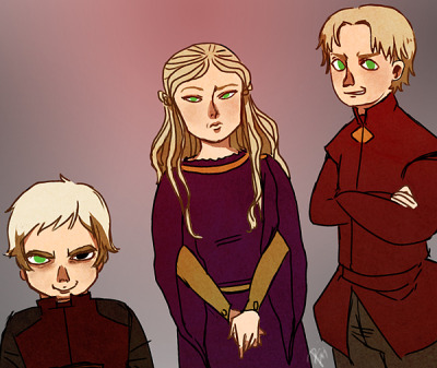 Another Game of Thrones fanart with the Lannister children. Excuse how they look exceptionally demented.