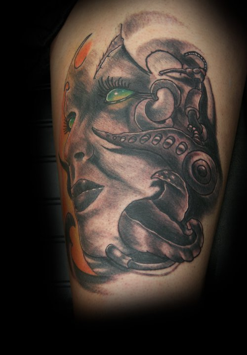 fuckyeahtattoos:  Design and tattoo done on my left thigh April of 2011 by Toby Benson, Mystic Tattoo Dubuque, Iowa