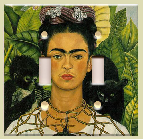 This light switch cover is definitely on my Top 10 Frida Kahlo Wants (via Double Light Switch Plate Frida Kahlo by christinafajardoart)