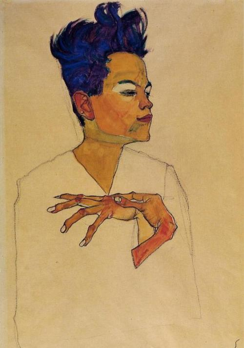 egon schiele, self-portrait with hands on chest (1910)