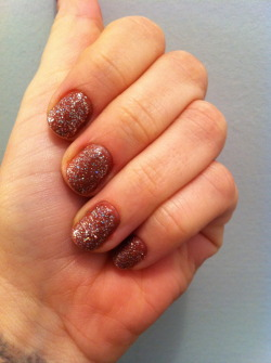 Ginger SnapsUsually I don't like full-nail glitter, but the holidays can always use a little extra sparkle!Rimmel, Hot CocoaSally Hansen, Strobe Light