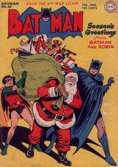 Fancy Batman struts with Santa.