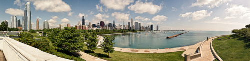 Chicago skyline panoramic from Shedd Aquarium by Rasidel Slika on Flickr.