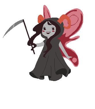 revolutionator:  gingerybiscuit:  aradia cosplays as death  i literally looked at this and said 'awwwwww' while laughing in a breathy voice for like three full minutes  I legit just sat here and quietly screamed into my hands for a little bit over how fucking kawaii aradia is