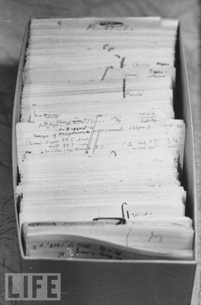 "Nabokov's index cards.    ""Nabokov wrote most his novels on 3"" x 5"" notecards, keeping blank cards under his pillow for whenever inspiration struck. Seen here: a draft of Lolita.""   Filed under: index cards"