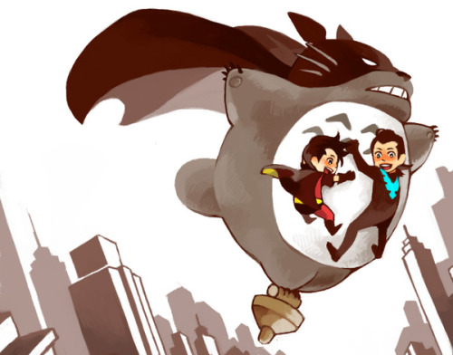 Fancy Bat-Totoro flies through Gotham. jeppenation:  Batman + Totoro.. My life is now complete.fan art