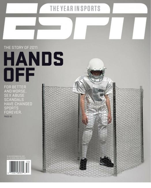 "Bag's Take-Away:  New ESPN cover cites sexual abuse as the sports ""story of 2011."" But also note the  NIKE's behind the chicken wire when everything else about the kid is generic, and virginal. The brand ID can be seen to implicate the huge role of $$$ in college sports. Remember the tell-tale line about abuse? It's not about sex, it's about power.  Via Coverjunkie   Topping LIFE.com's 2011 list of Best Photo Blogs, follow us at: BagNewsNotes; BAG Twitter; BAG Facebook; Bag by Email."