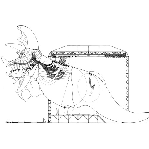 betonbabe:  MARK FISHER  INFLATABLE DINOSAUR PROJECT, SECTION THROUGH GANTRY AND BEAST, 1978