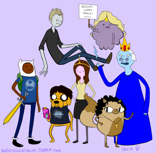 ninthcircleofhelia:  All together now! Adventure Time/Community crossover extravaganza~~ (Shirley was super hard to get right. I just went with cake because none of the princesses or anything worked out :I)  Troy x Britta just got even better somehow.