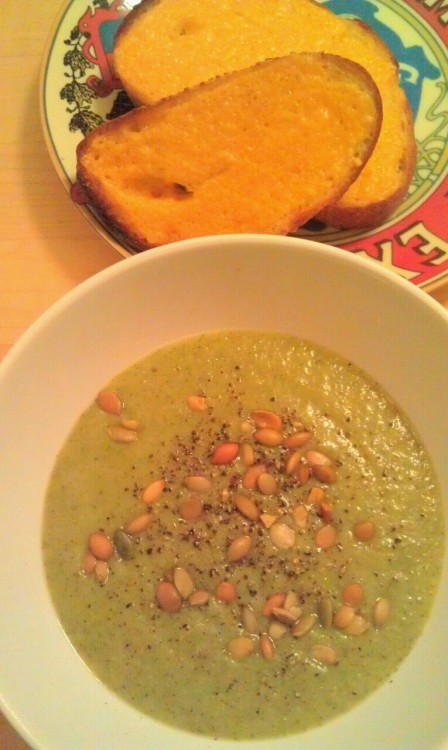 Spicy vegan broccoli/celery/potato soup with pepitas and cheesy toast.