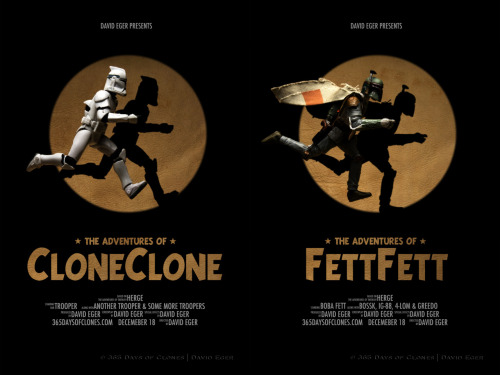 egerbver:  352/365 | The Adventures of CloneClone & FettFett on Flickr. Today is  Steven Spielberg's birthday.  In celebration our Trooper and Boba decided to recreate the movie poster from Spielberg's latest film, The Adventures of TinTin!  Our Trooper and Boba hopes they has done Spielberg and TinTin justice in their recreations. I would be amiss if I did not mention a similar creation by  Avanaut .  If you have a moment, please be sure to check it out. This photo is part of my mini series Cloned Photos. Enjoy!   Cards, Prints, iPod Covers and Laptop Skins are available @ Redbubble and Society6. Visit our troopers at www.365DaysofClones.com.