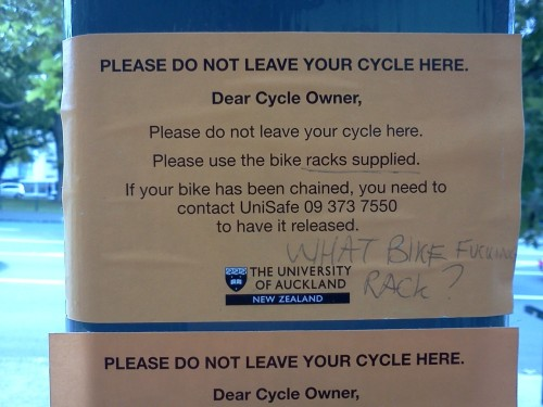 Someone's getting angry when his bike's chained.