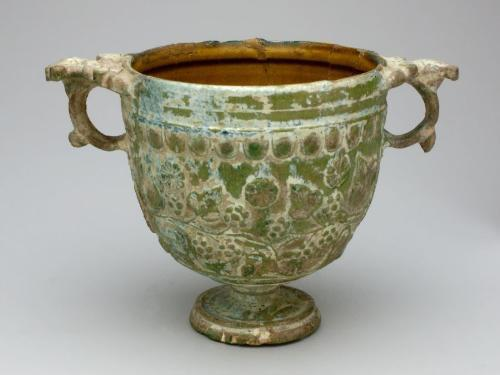 Lead-glazed pottery two-handled cup (skyphos), Asia Minor, 1st century CE Carnegie Museum of Art, Pittsburgh, Located in the Art before 1300 Gallery