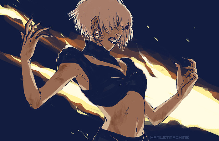 hamletmachine:  Fanart for Lady Gaga's Marry the Night video! I loved this outfit so much, I could pretty much hear my pupils dilating when I saw it! Then cars started exploding.. and I fell in love all over again.♥ Oh Lady Gaga, you are a thief of hearts!