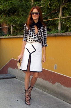 Black and White DRIES VAN NOTEN with Grid Print Shirt  and YSL Black and White Skirt, and gotta love the ALAIA Shoes… pic by Phil Oh
