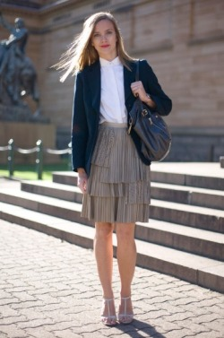 Black Blazer over White Peter Pan Collar Shirt with Grey Pleated Layered Skirt