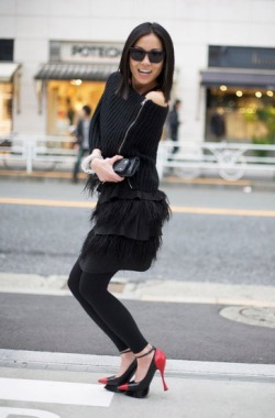Black Zip Sweater and Feather Fringe Skirt with Black and Red ALEXANDER MCQUEEN Heels